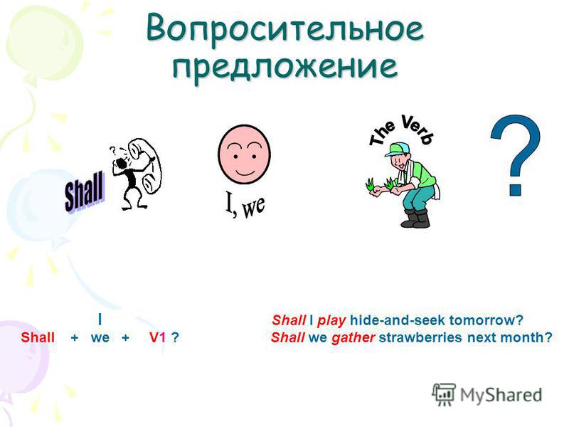 Вопросительное предложение I Shall I play hide-and-seek tomorrow? Shall + we + V1 ? Shall we gather strawberries next month?