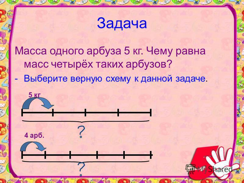 Задача Масса одного арбуза 5 кг. Чему равна масс четырёх таких арбузов? -Выберите верную схему к данной задаче. 5 кг 4 арб.