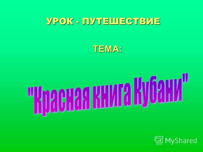 УРОК - ПУТЕШЕСТВИЕ ТЕМА: