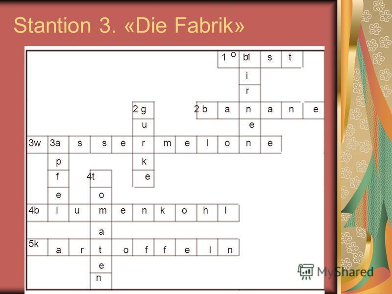 Stantion 3. «Die Fabrik» 11 2 b2 g 3w3w3a3a 4t4t 4b4b 5k5k o bst i r n e n aane u r k e ssemeloe p f e lumenkohl o a t e n aroffeln