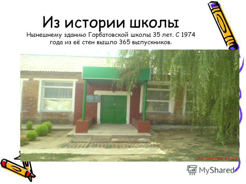 Из истории школы Нынешнему зданию Горбатовской школы 35 лет. С 1974 года из её стен вышло 365 выпускников.