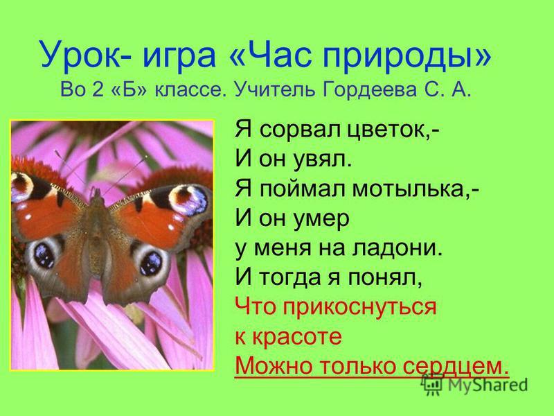 Урок- игра «Час природы» Во 2 «Б» классе. Учитель Гордеева С. А. Я сорвал цветок,- И он увял. Я поймал мотылька,- И он умер у меня на ладони. И тогда я понял, Что прикоснуться к красоте Можно только сердцем.