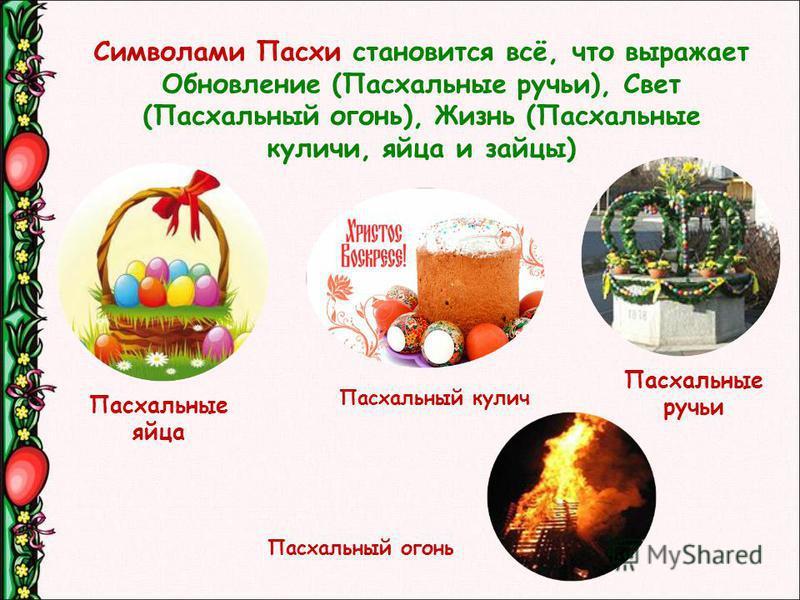 Символами Пасхи становится всё, что выражает Обновление (Паскальные ручьи), Свет (Паскальный огонь), Жизнь (Паскальные куличи, яйца и зайцы) Паскальные ручьи Паскальные яйца Паскальный кулич Паскальный огонь