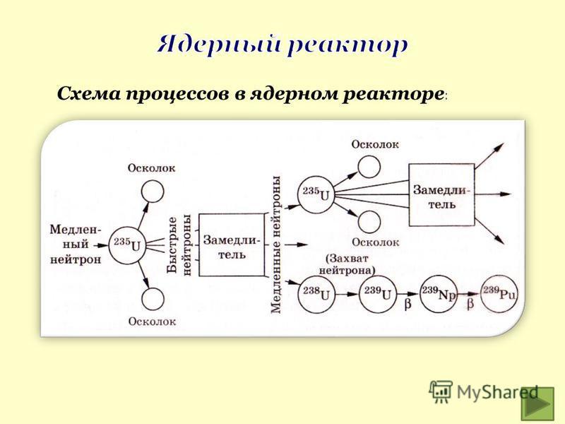 Схема процессов в ядерном реакторе :