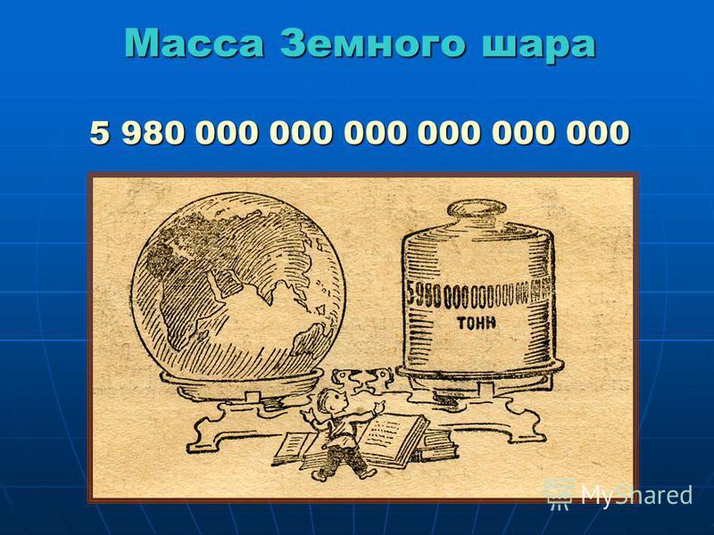 Масса Земного шара 5 980 000 000 000 000 000 000