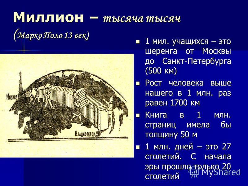 Миллион – тысяча тысяч (Марко Поло 13 век) 1 мил. учащихся – это шеренга от Москвы до Санкт-Петербурга (500 км) Рост человека выше нашего в 1 млн. раз равен 1700 км Книга в 1 млн. страниц имела бы толщину 50 м 1 млн. дней – это 27 столетий. С начала