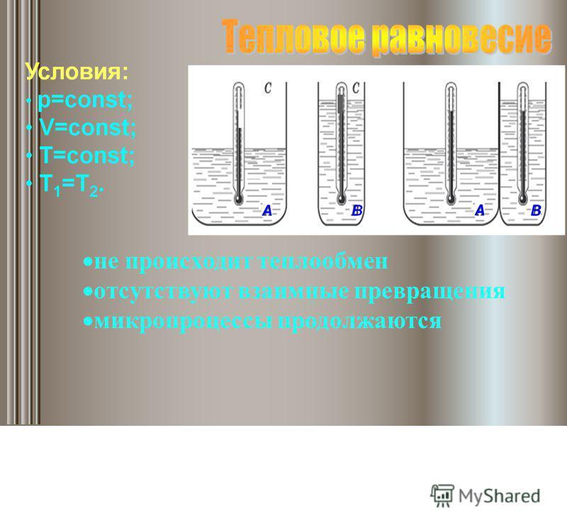 не происходит теплообмен отсутствуют взаимные превращения микропроцессы продолжаются