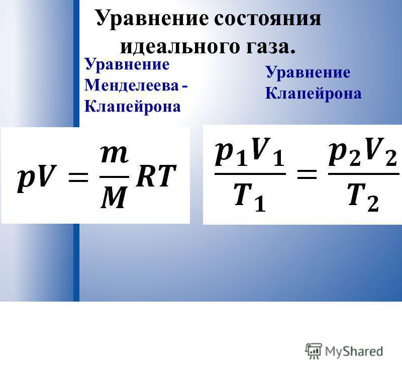 Уравнение состояния идеального газа. Уравнение Менделеева - Клапейрона Уравнение Клапейрона