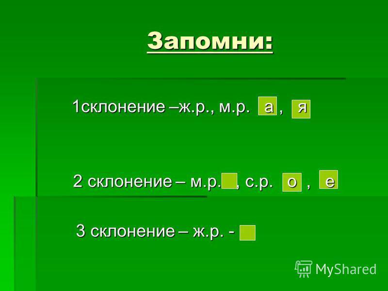 Запомни: 1 склонение –ж.р., м.р. а, я 1 склонение –ж.р., м.р. а, я 2 склонение – м.р., с.р. о, е 2 склонение – м.р., с.р. о, е 3 склонение – ж.р. - 3 склонение – ж.р. -