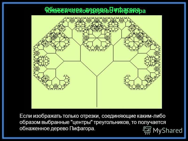 Обнаженное дерево Пифагора Классическое дерево Пифагора Если изображать только отрезки, соединяющие каким-либо образом выбранные центры треугольников, то получается обнаженное дерево Пифагора.