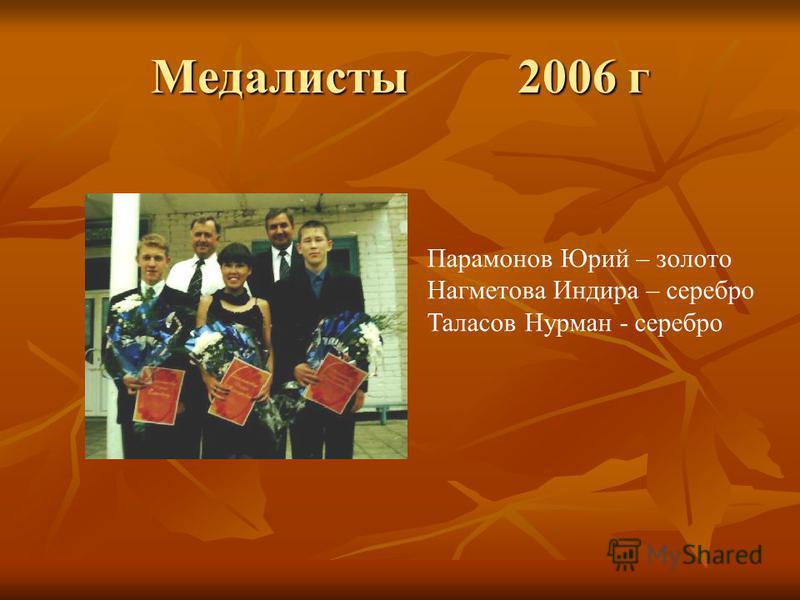 Медалисты 2006 г Парамонов Юрий – золото Нагметова Индира – серебро Таласов Нурман - серебро