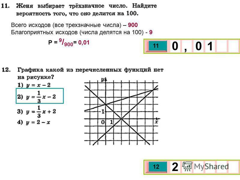 Всего исходов (все трехзначные числа) – 900 Благоприятных исходов (числа делятся на 100) - 9 Р = 9 / 900 = 0,01 3 х 1 0 х 11 1 0, 0 3 х 1 0 х 12 2