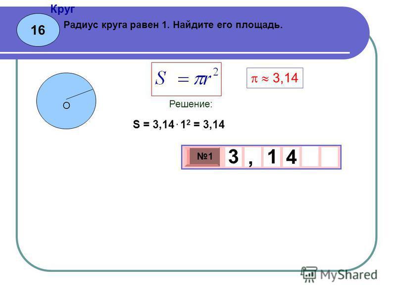 16 Круг 3 х 1 0 х 1 4 3, 1 Радиус круга равен 1. Найдите его площадь. Решение: О 3,14 S = 3,14. 1 2 = 3,14