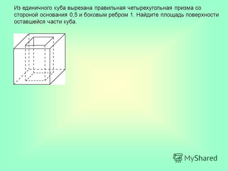 Из единичного куба вырезана правильная четырехугольная призма со стороной основания 0,5 и боковым ребром 1. Найдите площадь поверхности оставшейся части куба.