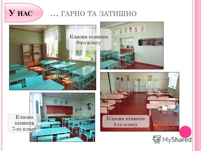 … ГАРНО ТА ЗАТИШНО Класна кімната 9-го класу Класна кімната 7-го класу Класна кімната 4-го класу У НАС