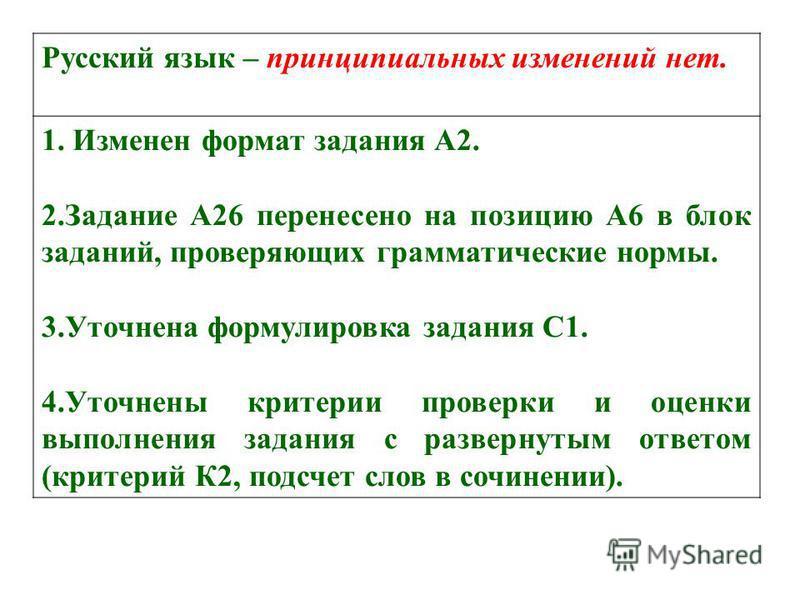 Русский язык – принципиальных изменений нет. 1. Изменен формат задания А2. 2. Задание А26 перенесено на позицию А6 в блок заданий, проверяющих грамматические нормы. 3. Уточнена формулировка задания С1. 4. Уточнены критерии проверки и оценки выполнени