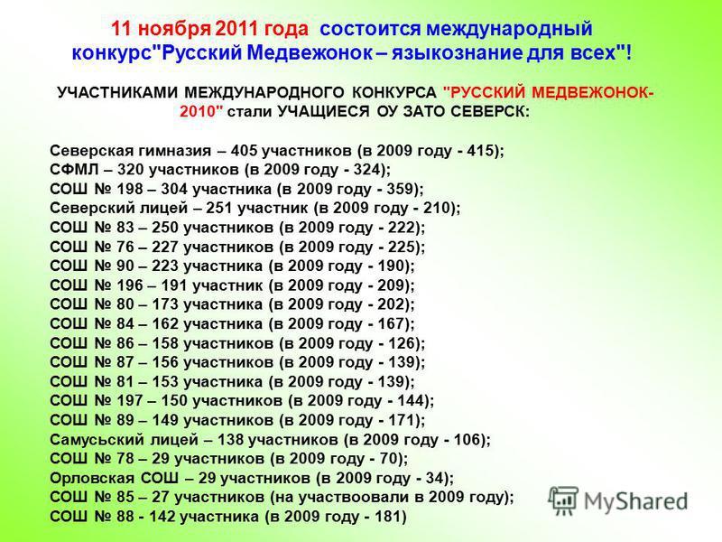 11 ноября 2011 года состоится международный конкурс