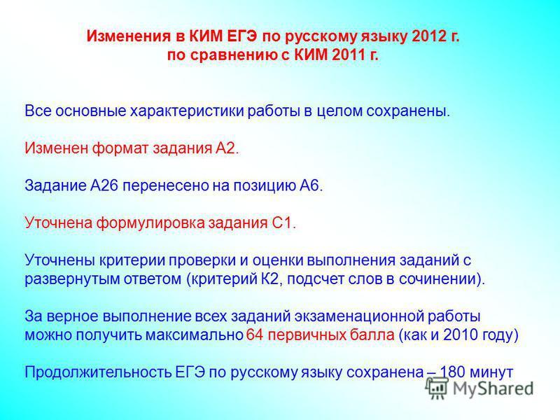 Изменения в КИМ ЕГЭ по русскому языку 2012 г. по сравнению с КИМ 2011 г. Все основные характеристики работы в целом сохранены. Изменен формат задания А2. Задание А26 перенесено на позицию А6. Уточнена формулировка задания С1. Уточнены критерии провер
