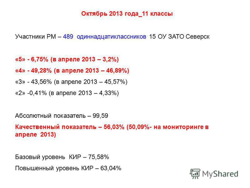 Участники РМ – 489 одиннадцатиклассников 15 ОУ ЗАТО Северск «5» - 6,75% (в апреле 2013 – 3,2%) «4» - 49,28% (в апреле 2013 – 46,89%) «3» - 43,56% (в апреле 2013 – 45,57%) «2» -0,41% (в апреле 2013 – 4,33%) Абсолютный показатель – 99,59 Качественный п