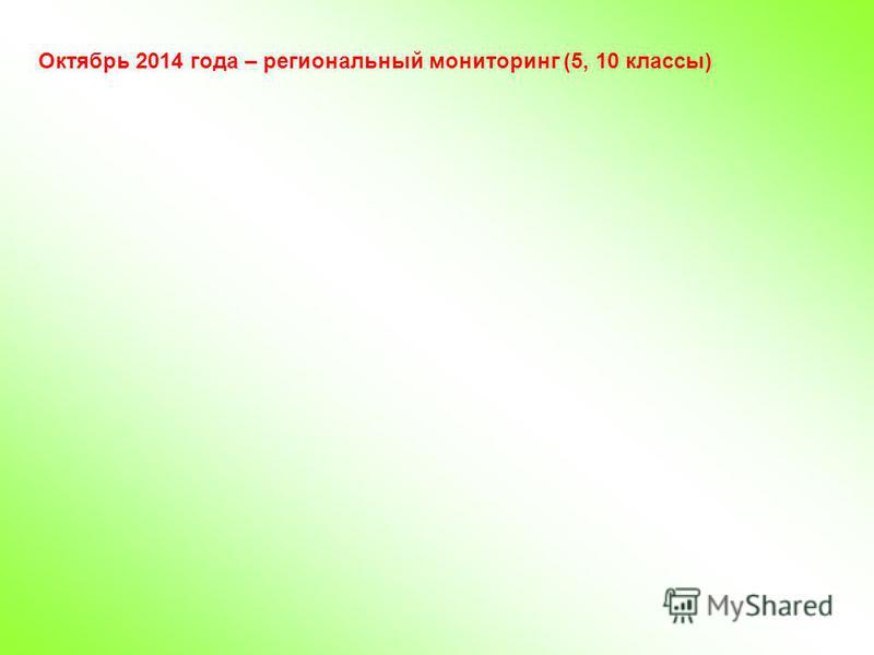Октябрь 2014 года – региональный мониторинг (5, 10 классы)