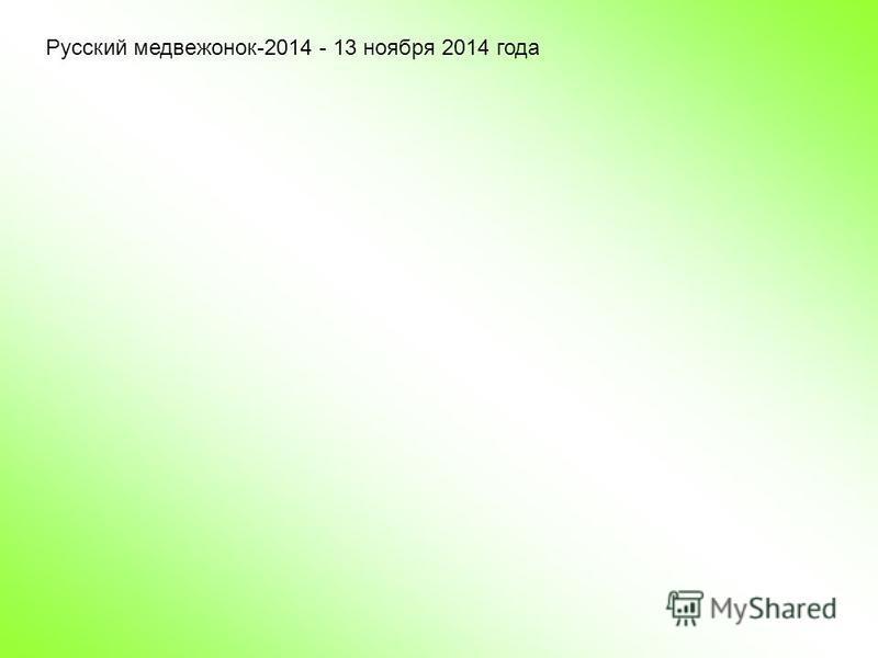 Русский медвежонок-2014 - 13 ноября 2014 года