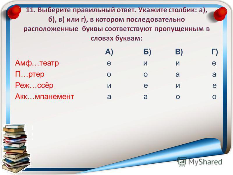 А) Б) В) Г) Амф…театр е и и е П…ртер о о а а Реж…ссёр и е и е Акк…мпанемент а а о о