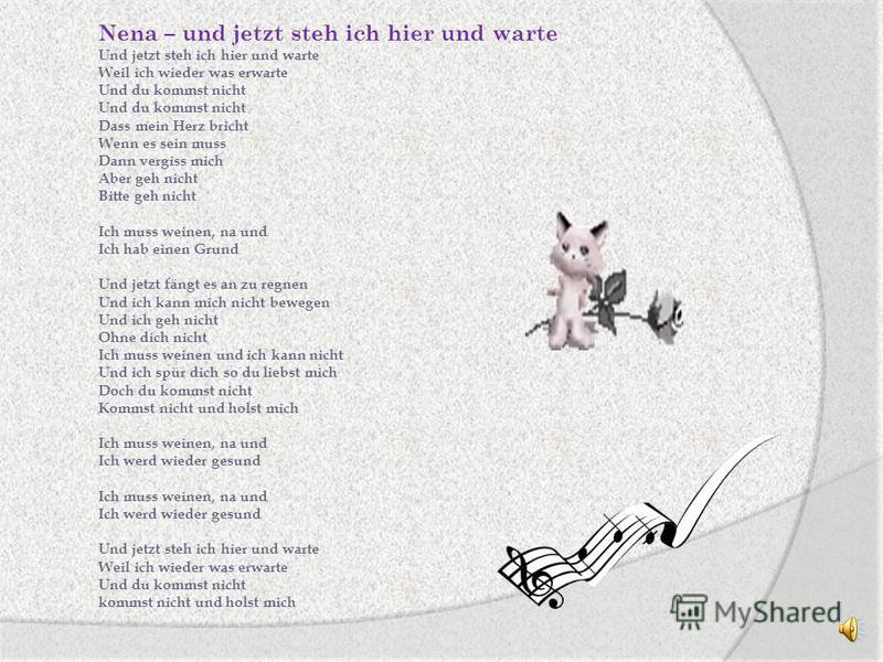 Die Übersetzung aus dem Russischen. Die Musik das sind nicht nur schön klingelnde Töne, aber das ist ganze Welt, das ist Sprache, die alle verstehen, unabhängig von der Hautfarbe und von dem Alter. Die Komponisten schaffen die Musik, die die Musik ko