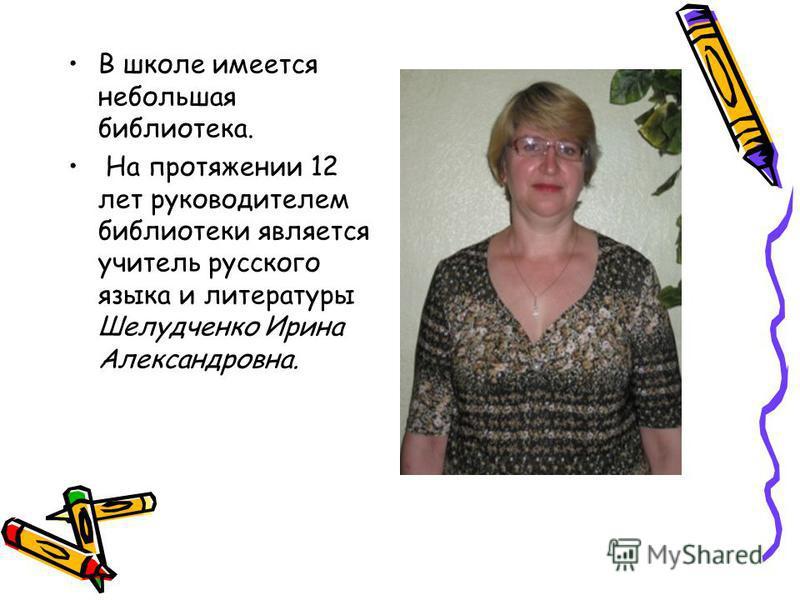 В школе имеется небольшая библиотека. На протяжении 12 лет руководителем библиотеки является учитель русского языка и литературы Шелудченко Ирина Александровна.