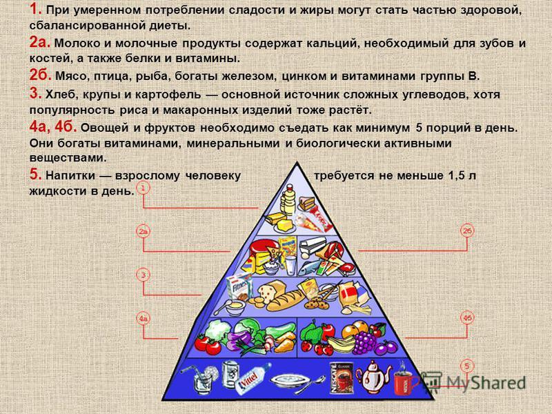 1. При умеренном потреблении сладости и жиры могут стать частью здоровой, сбалансированной диеты. 2 а. Молоко и молочные продукты содержат кальций, необходимый для зубов и костей, а также белки и витамины. 2 б. Мясо, птица, рыба, богаты железом, цинк