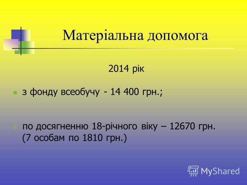 2014 рік з фонду всеобучу - 14 400 грн.; по досягненню 18-річного віку – 12670 грн. (7 особам по 1810 грн.) Матеріальна допомога