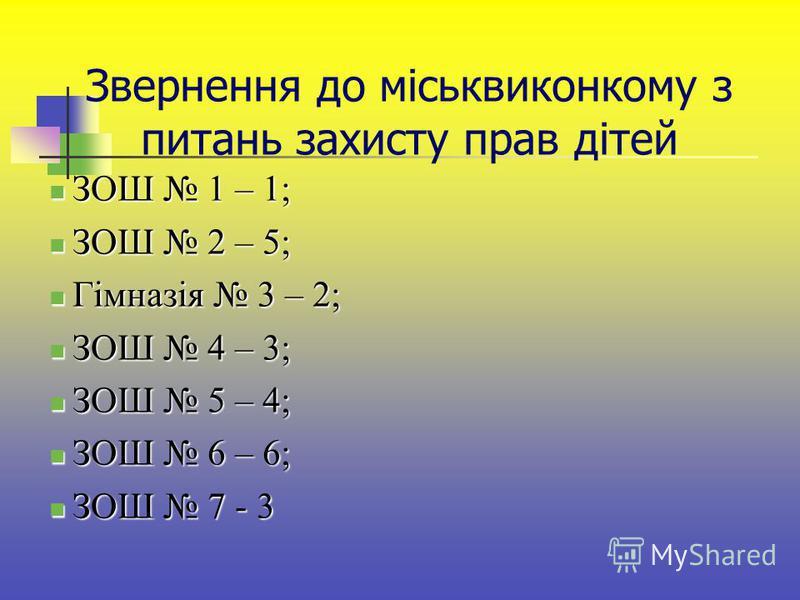 Звернення до міськвиконкому з питань захисту прав дітей ЗОШ 1 – 1; ЗОШ 1 – 1; ЗОШ 2 – 5; ЗОШ 2 – 5; Гімназія 3 – 2; Гімназія 3 – 2; ЗОШ 4 – 3; ЗОШ 4 – 3; ЗОШ 5 – 4; ЗОШ 5 – 4; ЗОШ 6 – 6; ЗОШ 6 – 6; ЗОШ 7 - 3 ЗОШ 7 - 3