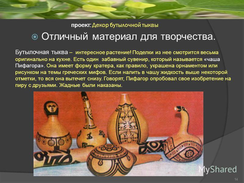 проект: Декор бутылочной тыквы Бутылочная тыква – интересное растение! Поделки из нее смотрится весьма оригинально на кухне. Есть один забавный сувенир, который называется «чаша Пифагора». Она имеет форму кратера, как правило, украшена орнаментом или