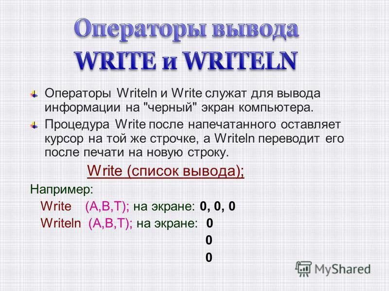 Операторы Writeln и Write служат для вывода информации на