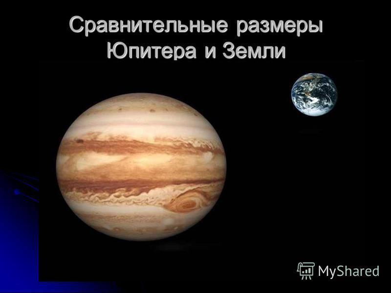 Сравнительные размеры Юпитера и Земли
