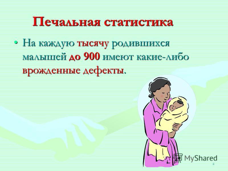 4 Печальная статистика На каждую тысячу родившихся малышей до 900 имеют какие-либо врожденные дефекты.На каждую тысячу родившихся малышей до 900 имеют какие-либо врожденные дефекты.