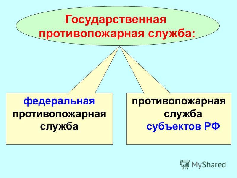 Государственная противопожарная служба: федеральная противопожарная служба противопожарная служба субъектов РФ