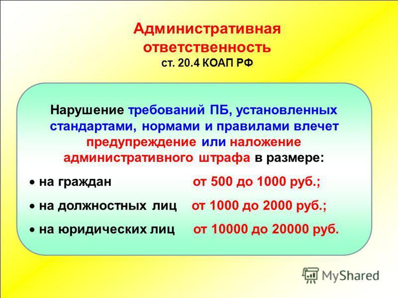 Нарушение требований ПБ, установленных стандартами, нормами и правилами влечет предупреждение или наложение административного штрафа в размере: на граждан от 500 до 1000 руб.; на должностных лиц от 1000 до 2000 руб.; на юридических лиц от 10000 до 20