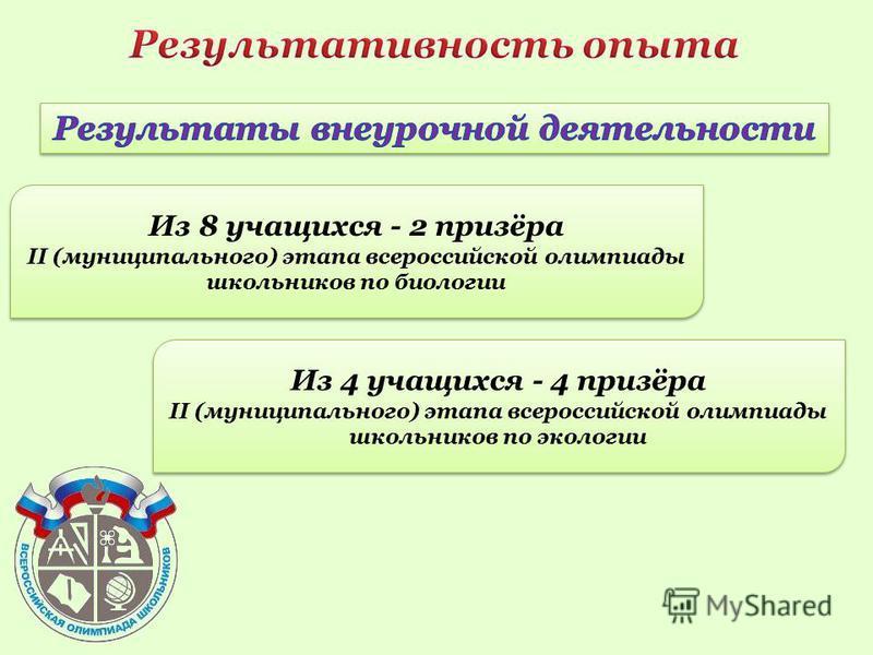 Из 8 учащихся - 2 призёра II (муниципального) этапа всероссийской олимпиады школьников по биологии Из 8 учащихся - 2 призёра II (муниципального) этапа всероссийской олимпиады школьников по биологии Из 4 учащихся - 4 призёра II (муниципального) этапа
