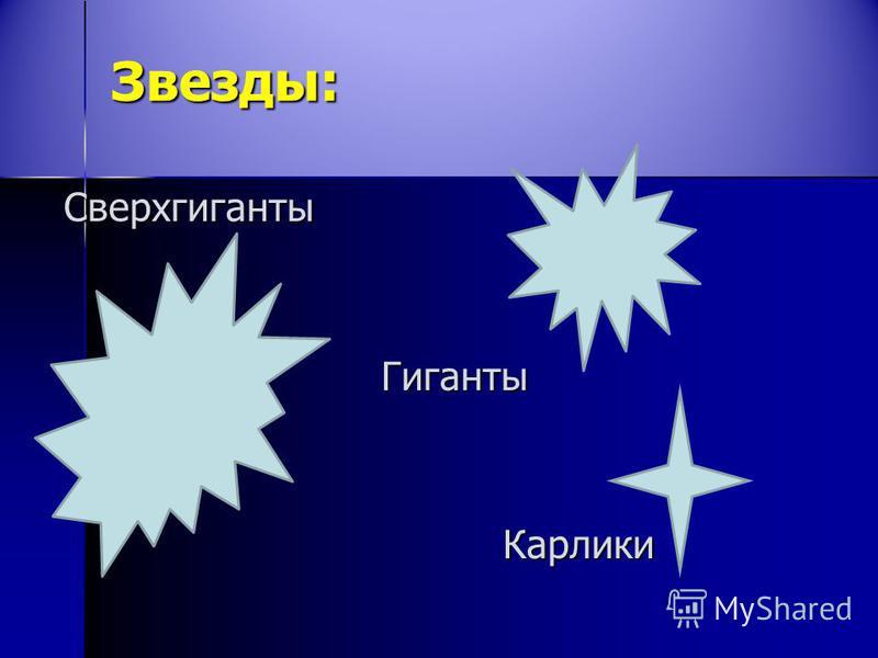 Звезды: Сверхгиганты Гиганты Гиганты Карлики Карлики