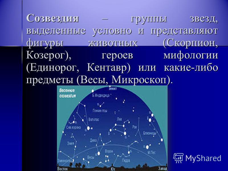 С Созвездия – группы звезд, выделенные условно и представляют фигуры животных (Скорпион, Козерог), героев мифологии (Единорог, Кентавр) или какие-либо предметы (Весы, Микроскоп).
