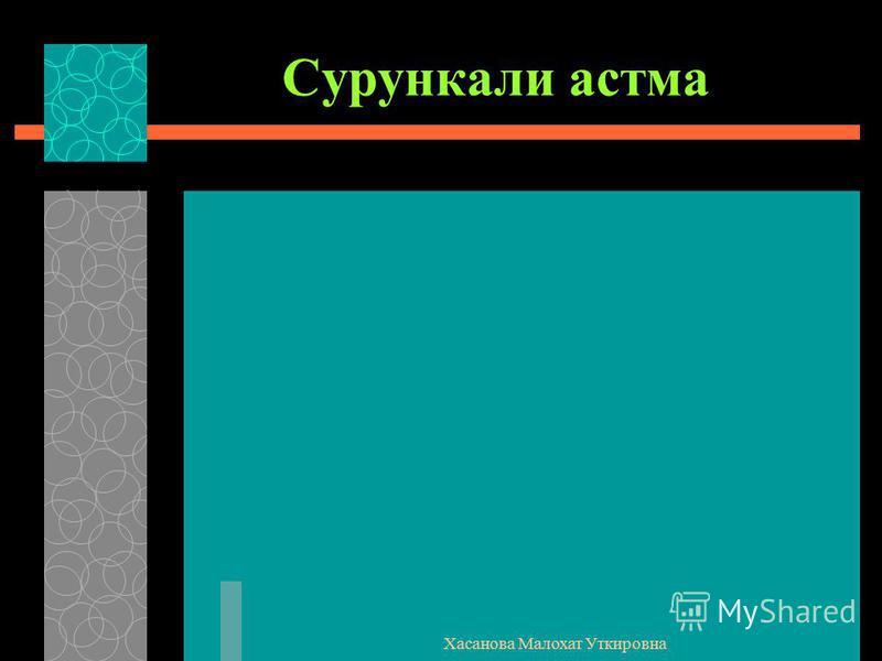 Хасанова Малохат Уткировна Сурункали астма