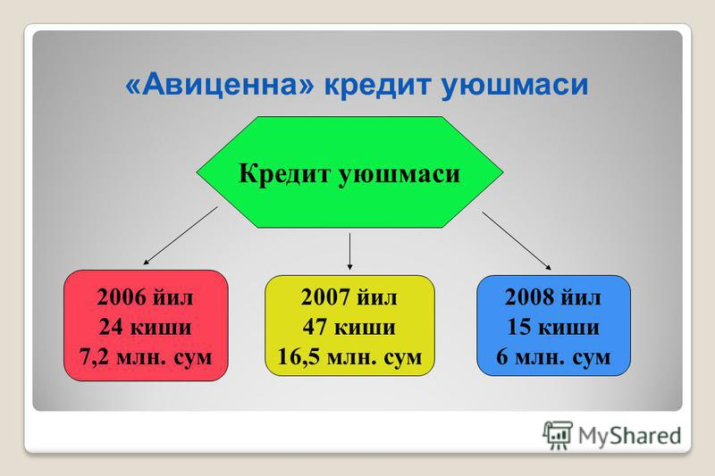 «Авиценна» кредит уюшмаси Кредит уюшмаси 2006 йил 24 киши 7,2 млн. сум 2007 йил 47 киши 16,5 млн. сум 2008 йил 15 киши 6 млн. сум