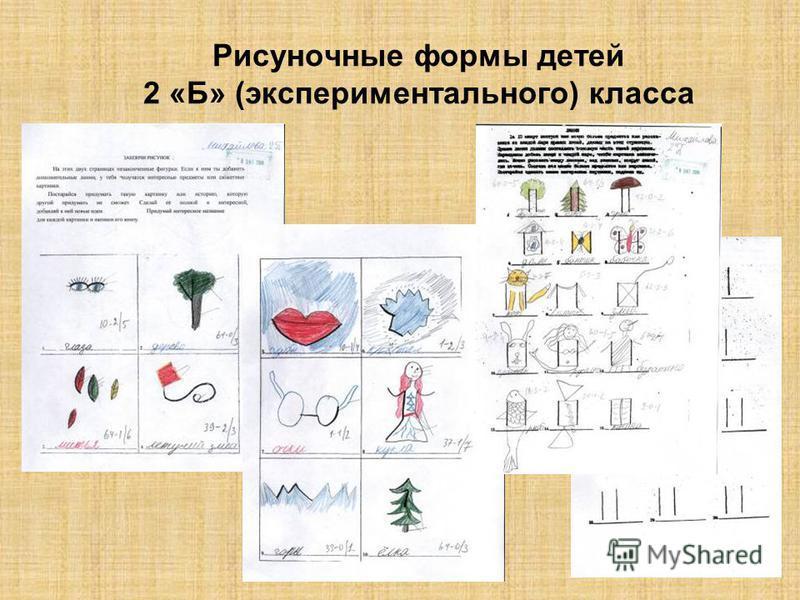 Рисуночные формы детей 2 «А» (контрольного) класса