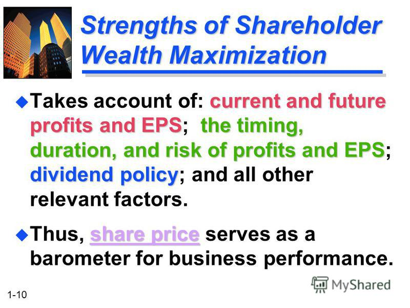 """how dividend policy will affect the shareholder wealth Effect of dividend policies on firm value: evidence from  shareholder""""s wealth maximization, which translates into  whether dividend policy affects share ."""