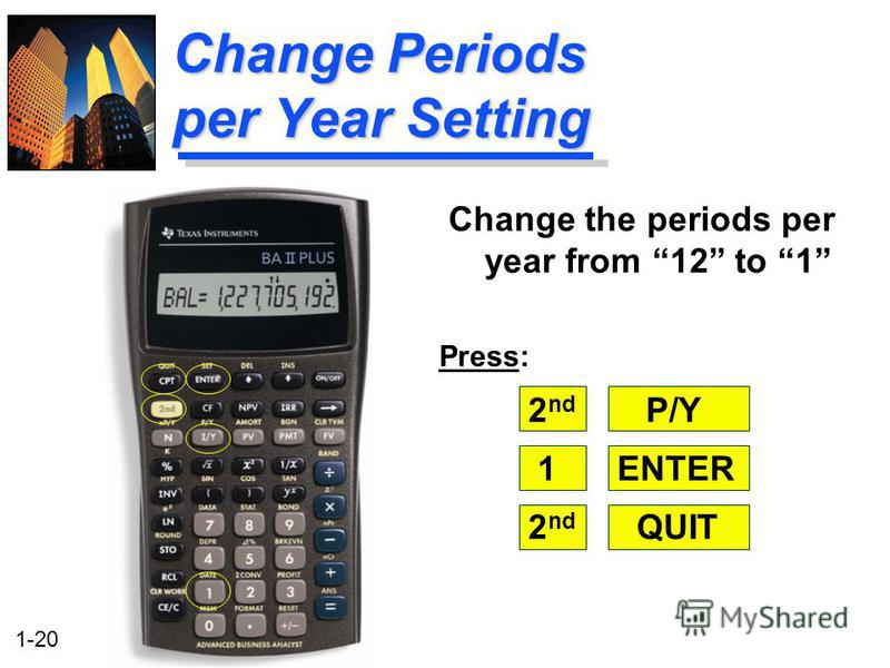 1-20 Change Periods per Year Setting Change the periods per year from 12 to 1 Press: 2 nd P/Y 1ENTER 2 nd QUIT