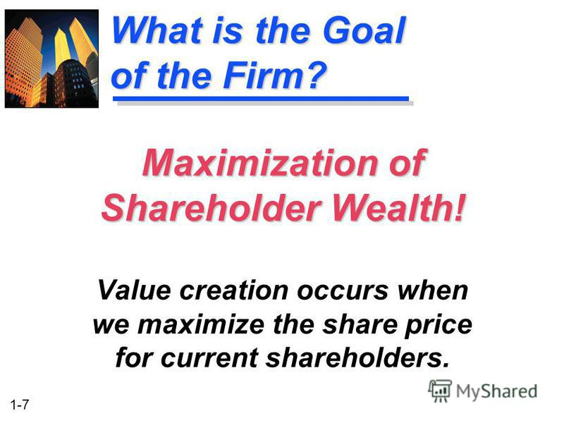 is the primary goal of the firm to maximize shareholder wealth 1 shareholder wealth in a firm is represented by: the number of people employed in the firm the book value of the firm's assets less the book value of its liabilities.