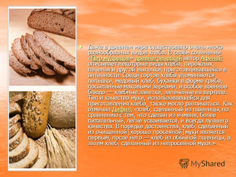 Даже в древнем мире существовало очень много разнообразных видов хлеба. В своём сочинении «Пир мудрецов» древнегреческий автор Афиней описывает некоторые виды хлеба, пирожных, печенья и другой выпечки, приготавливавшейся в античности. Среди сортов хл