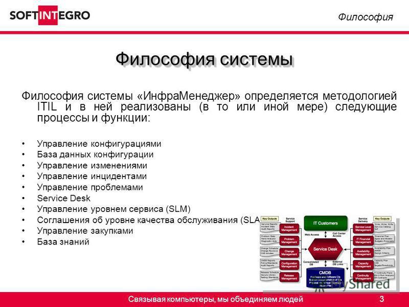 Связывая компьютеры, мы объединяем людей 3 Философия системы «Инфра Менеджер» определяется методологией ITIL и в ней реализованы (в то или иной мере) следующие процессы и функции: Управление конфигурациями База данных конфигурации Управление изменени
