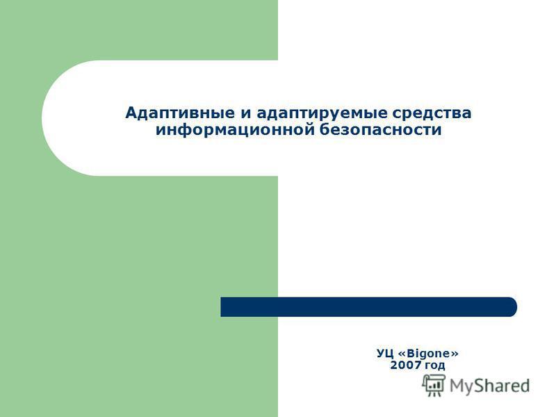 Адаптивные и адаптируемые средства информационной безопасности УЦ «Bigone» 2007 год