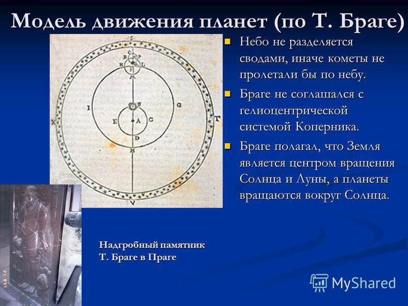 Модель движения планет (по Т. Браге) Небо не разделяется сводами, иначе кометы не пролетали бы по небу. Небо не разделяется сводами, иначе кометы не пролетали бы по небу. Браге не соглашался с гелиоцентрической системой Коперника. Браге не соглашался